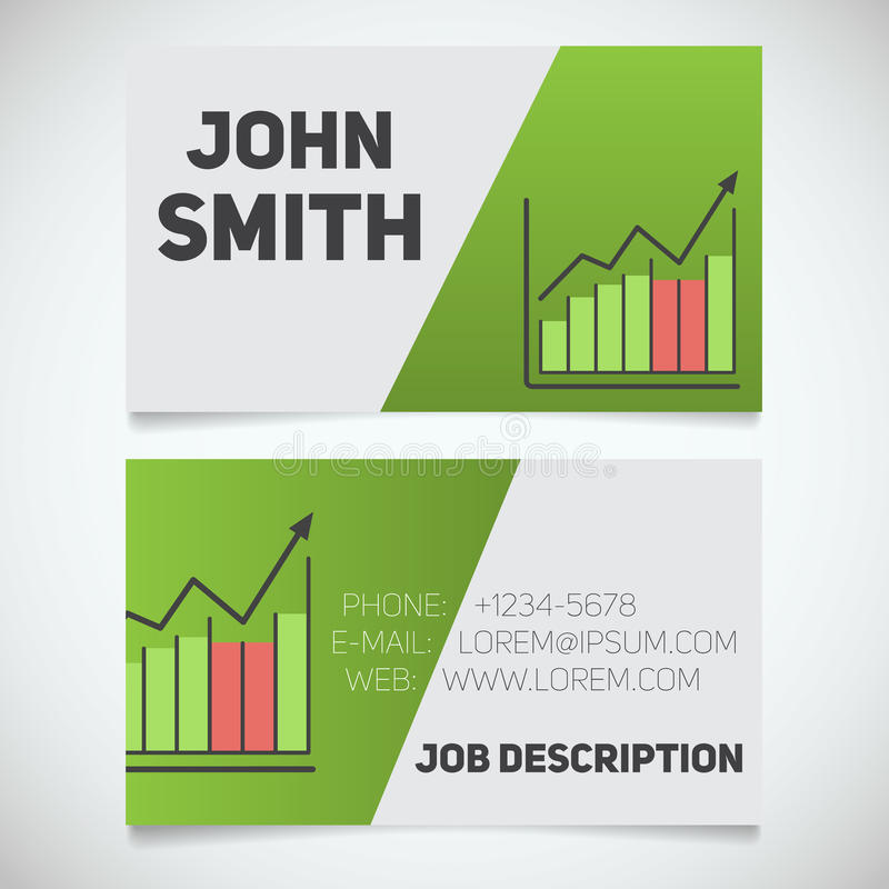 Business Card Print Template With Income Growth Chart Logo Stock