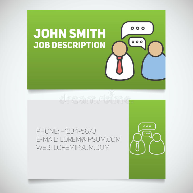 Business Card Print Template With Interview Logo Stock Vector ...