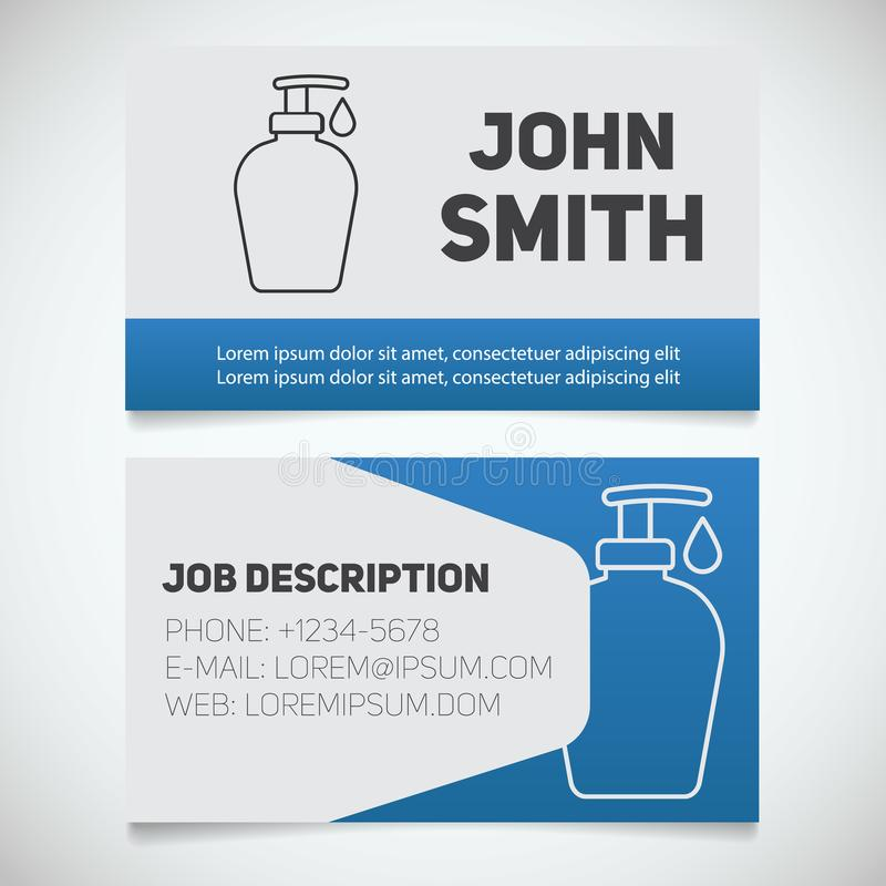 Business card print template with liquid soap logo 皇族释放例证