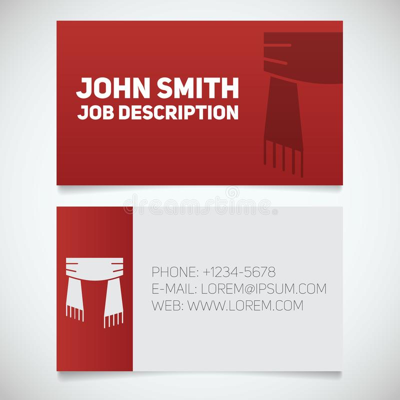Business card print template with scarf logo 向量例证