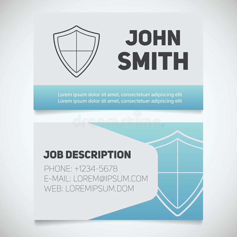 Business Card Print Template With Shield Log Stock Vector ...