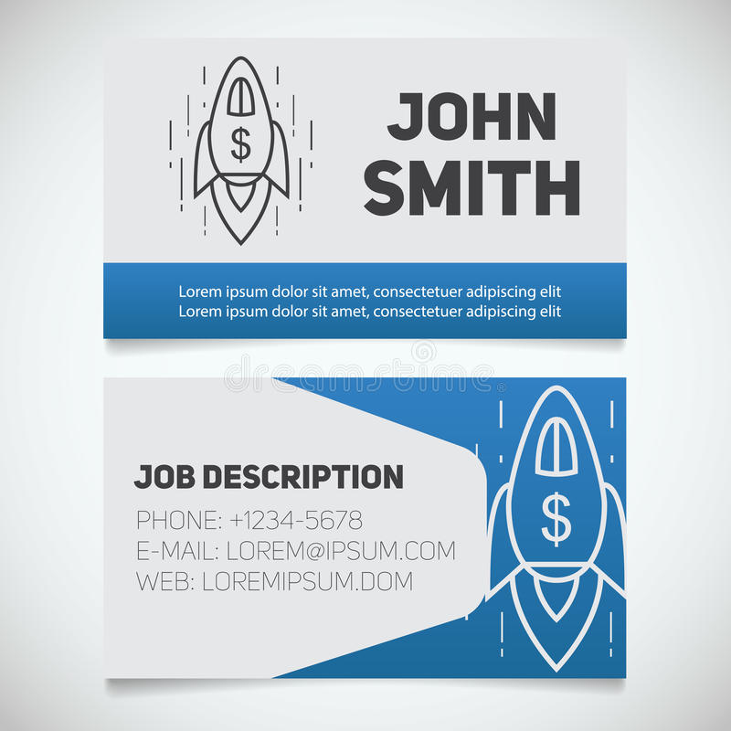 Business Card Print Template With Spaceship Logo Stock Vector ...