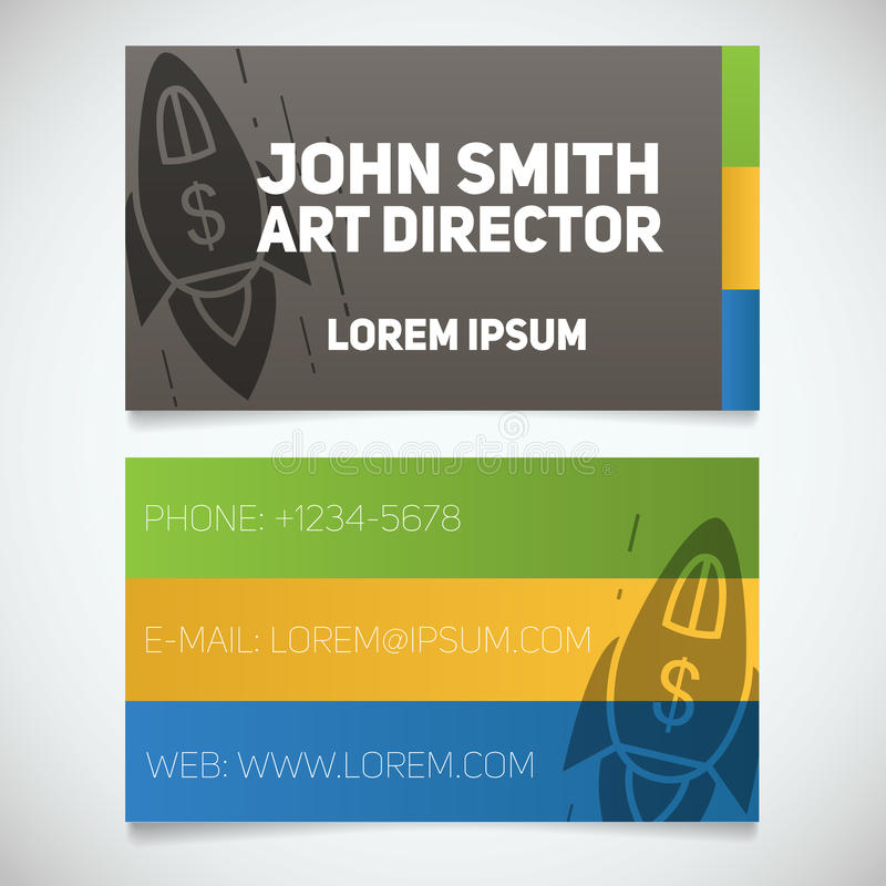 Business card print template with spaceship logo startup manager download business card print template with spaceship logo startup manager business coach stock vector colourmoves