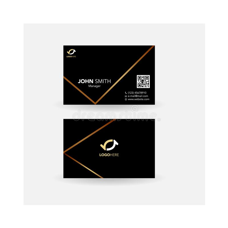 Business card promotion simple design_Black gold line royalty free illustration