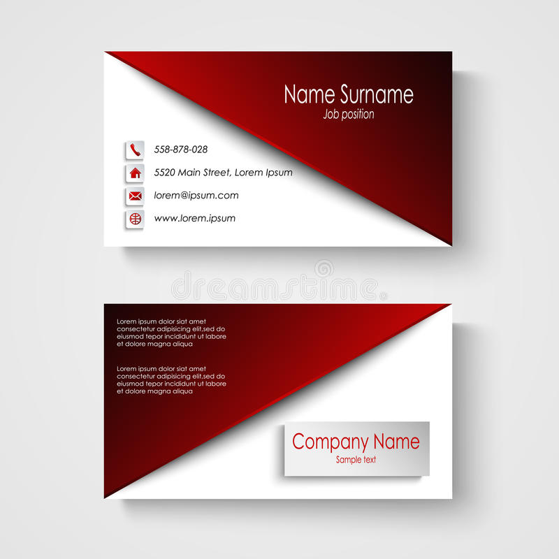 Business card with red white background template stock for Business card eps template