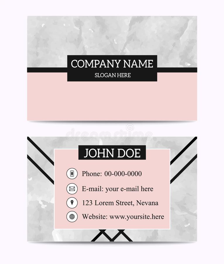 Rose Gold White Black Marble Business Card Template . stock illustration