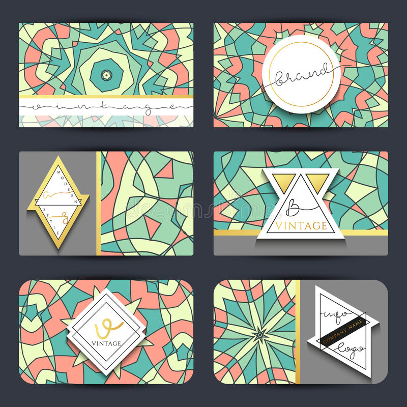 Business card set card with geometric mandala pattern stock vector download business card set card with geometric mandala pattern stock vector illustration of kaleidoscope reheart Gallery
