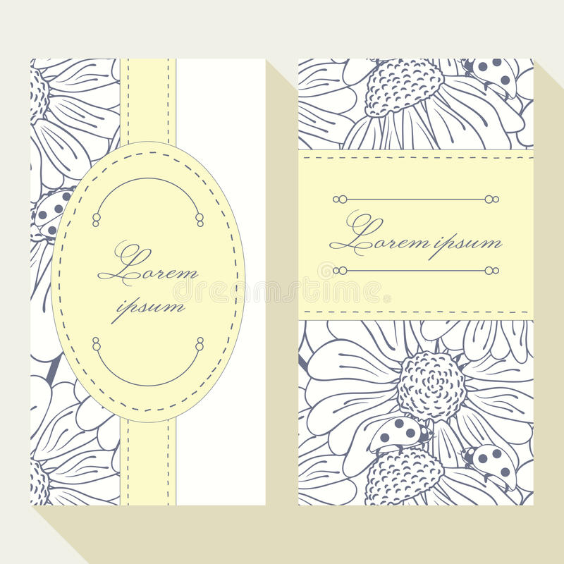 Business Card Set With Outline Ladybug And Daisy Stock Vector ...