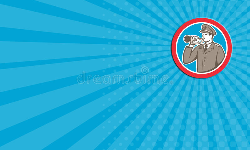 Business Card Soldier Blowing Bugle Circle Retro Stock Illustration
