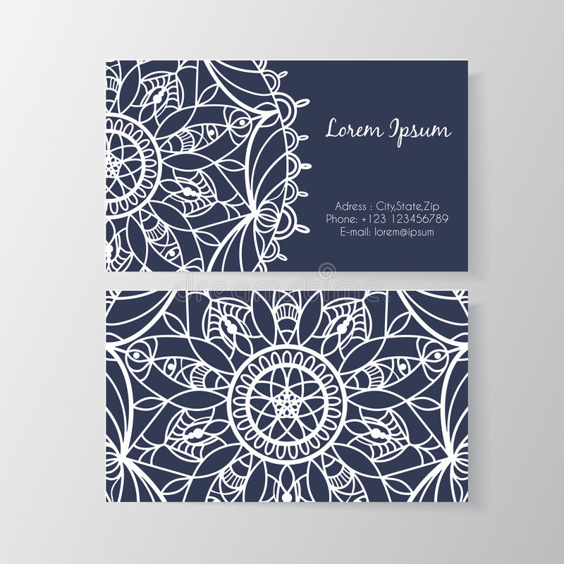 Business card with stylish modern floral pattern royalty free illustration
