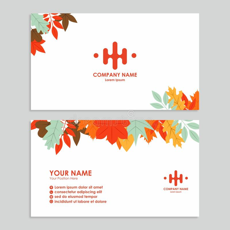 Business card template with autumn design stock illustration