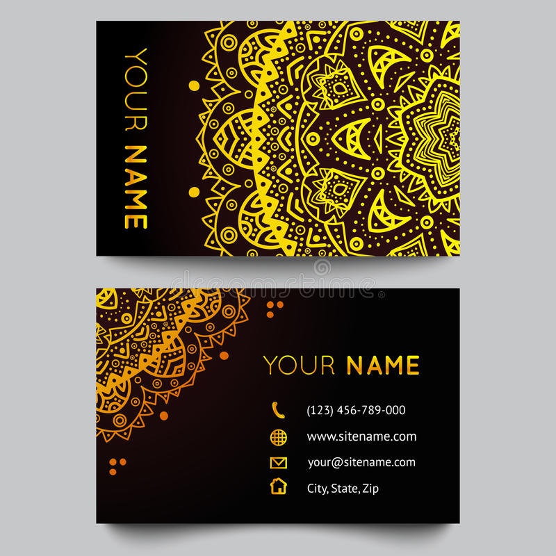 Download Business Card Template Black And Golden Beauty Stock Vector