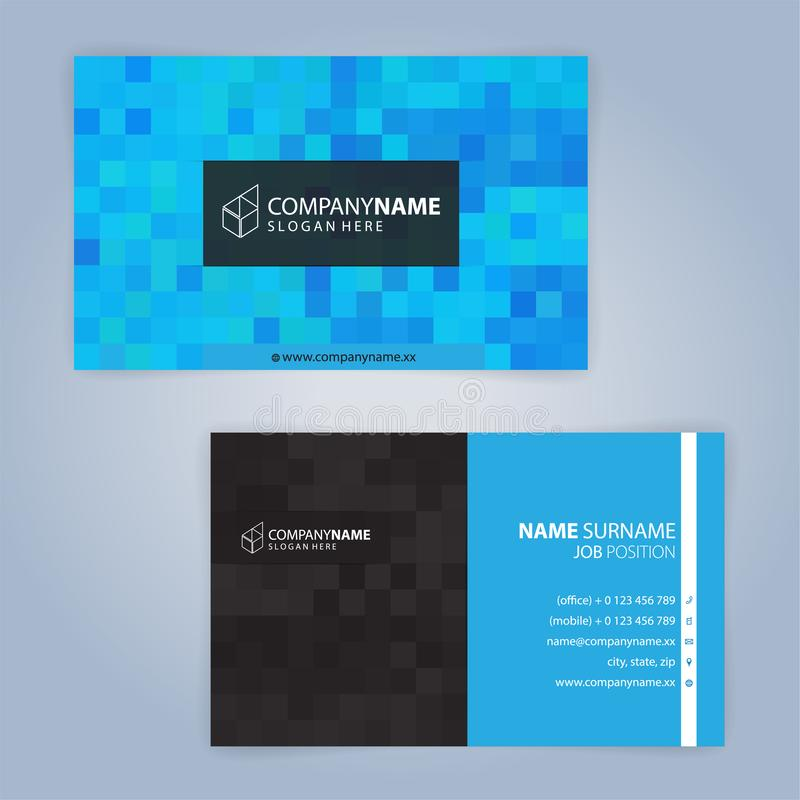 Business card template. Blue and black. Illustration Vector10 stock illustration