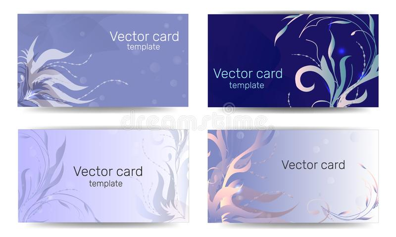 Business card template in blue shades with floral ornament. Text frame. Abstract geometric banner.  stock illustration