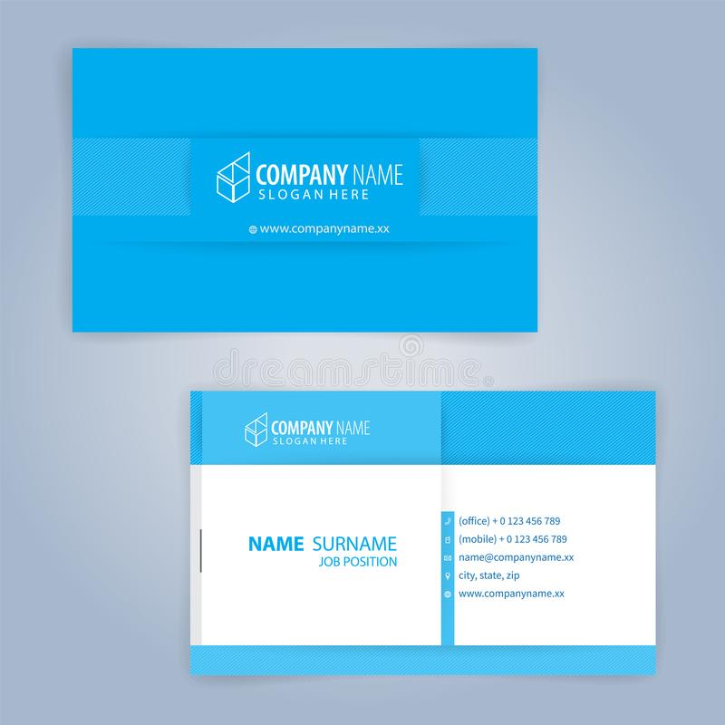 Business card template. Blue and White. Illustration Vector 10 stock illustration