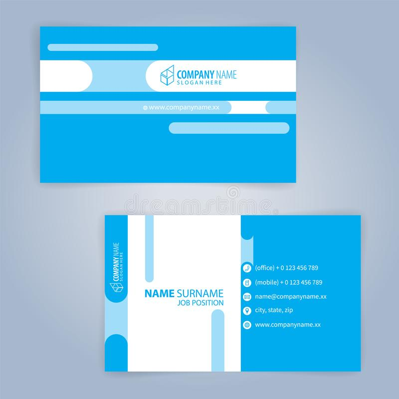 Business card template. Blue and White. Illustration Vector10 vector illustration