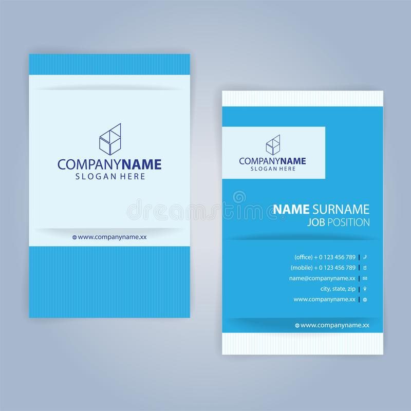 Business card template. Blue and White, vertical. Illustration Vector10 vector illustration