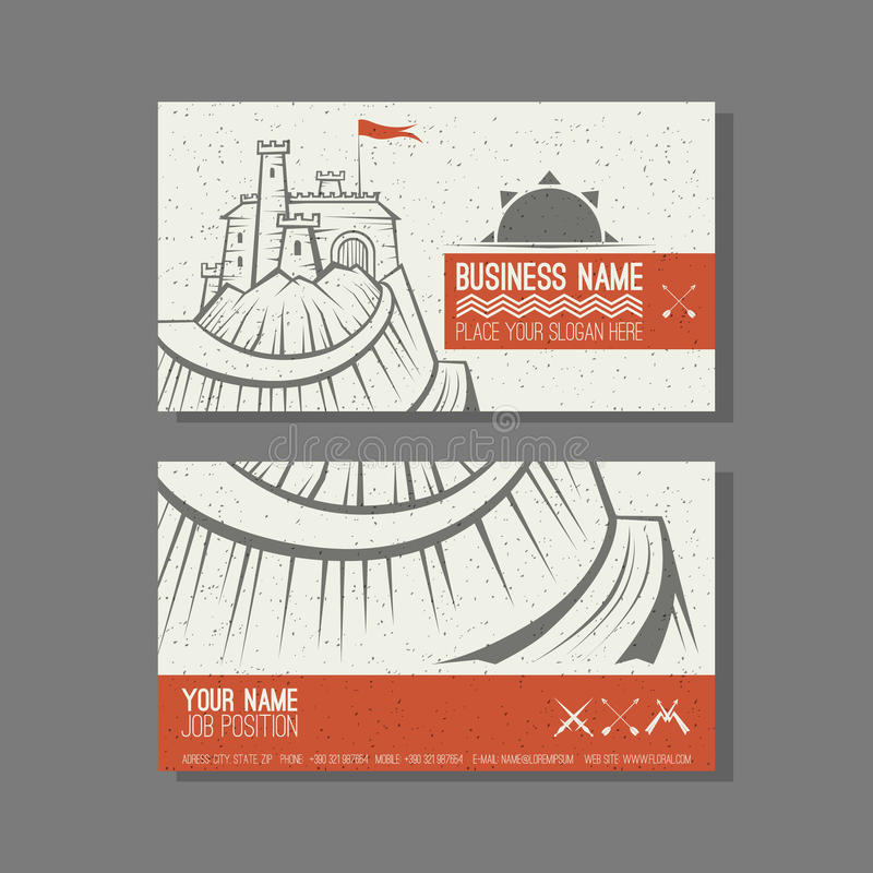 Business card template Castle on the mountain vector illustration
