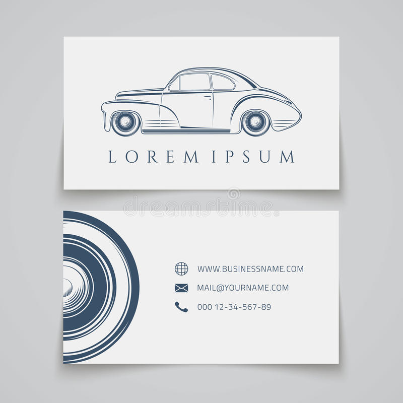 Business card template. Classic car logo royalty free illustration