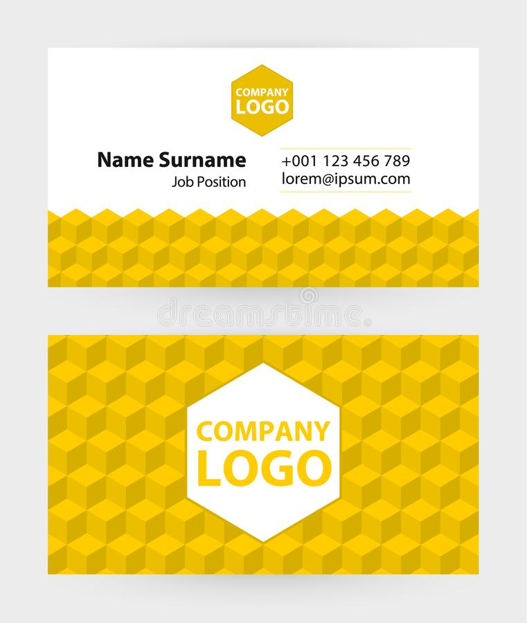 Business card template, 9x5 cm size. Vector royalty free illustration