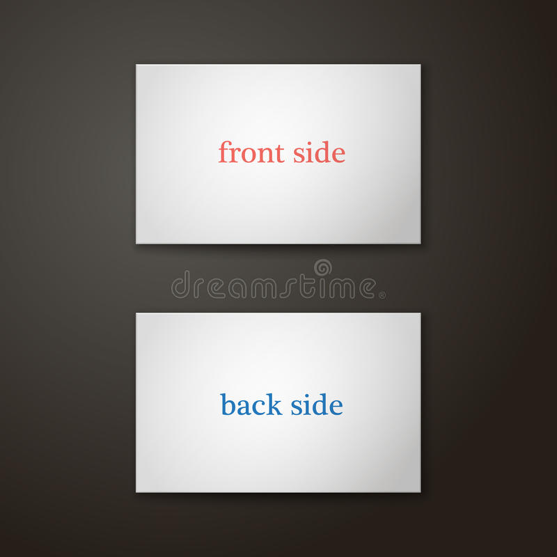 Business card template in color two side. Illustration. Business card template in color on a background. Two side. The view from the top. Blank mockup for your stock illustration