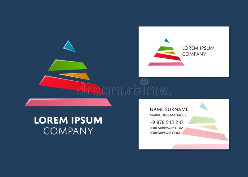 Business card template with colorful pyramid logo stock vector download business card template with colorful pyramid logo stock vector illustration of card email wajeb Image collections