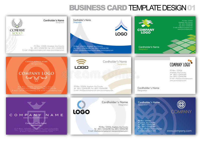 Business Card Template Design 001. Logo and business card template design royalty free illustration