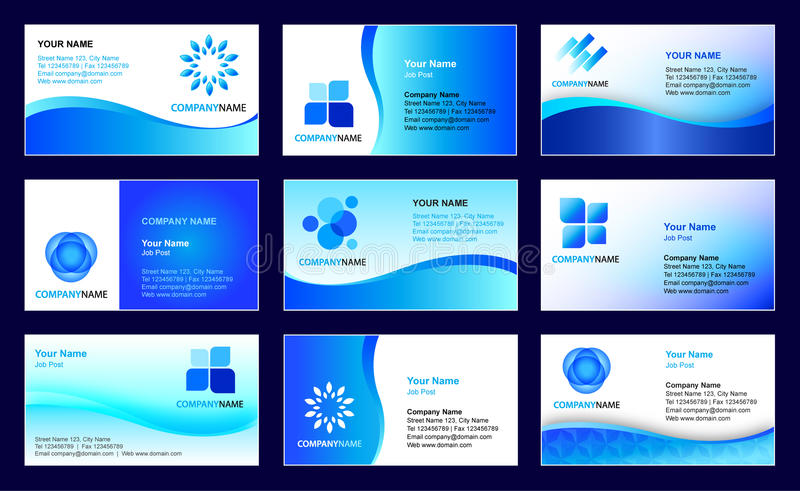 Business card template design. Vector collection of 9 corporate business card and logo templates in blue universal design with editable all letterings (in EPS vector illustration