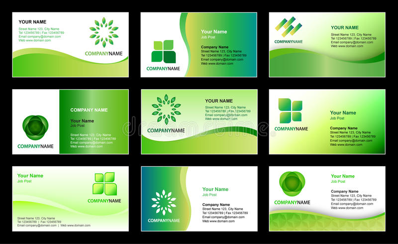 Business card template design. Vector collection of 9 ecology - environmental business card and logo templates in green white universal design with editable all vector illustration