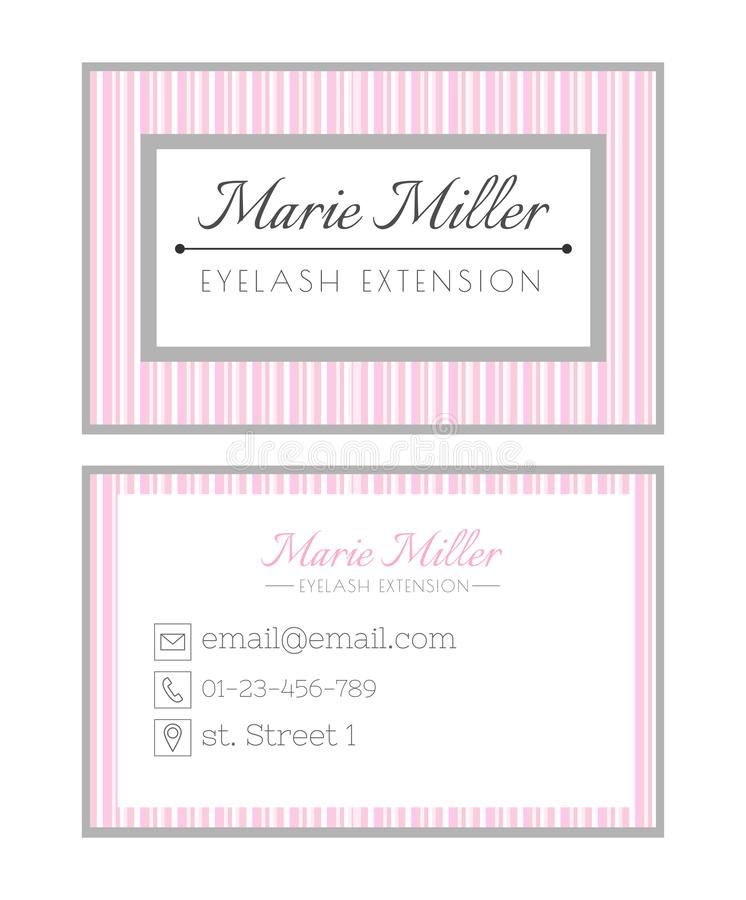 Business card template design for beauty salon. Services on eyelash extension. Pink striped layout. Elegant royalty free illustration
