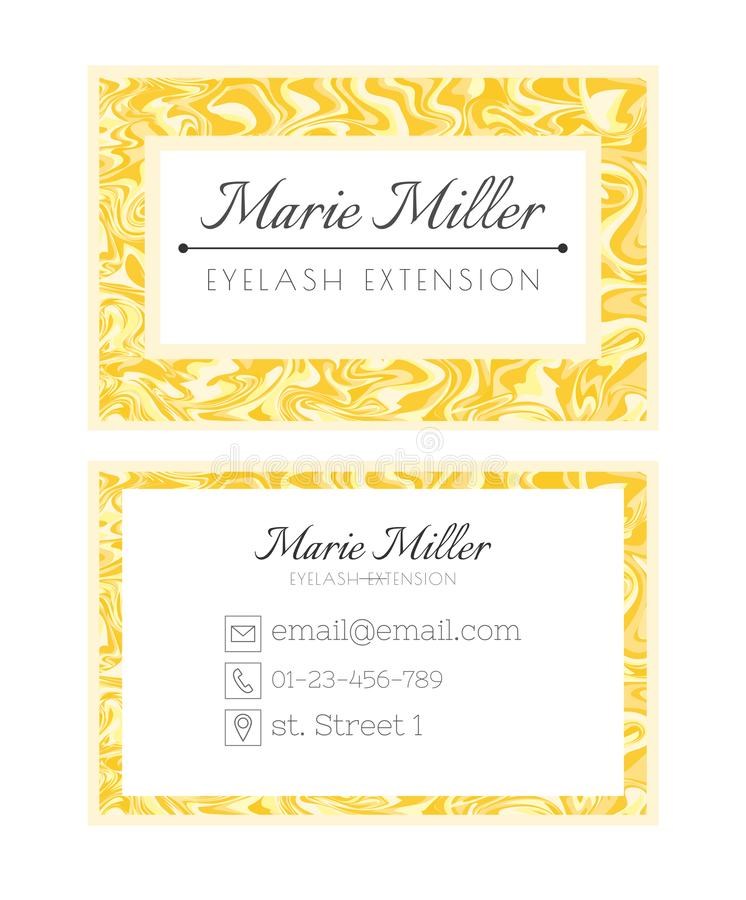 Business card template design for spa beauty salon. Services on eyelash extension. Golden luxury layout. Abstract marble background stock illustration