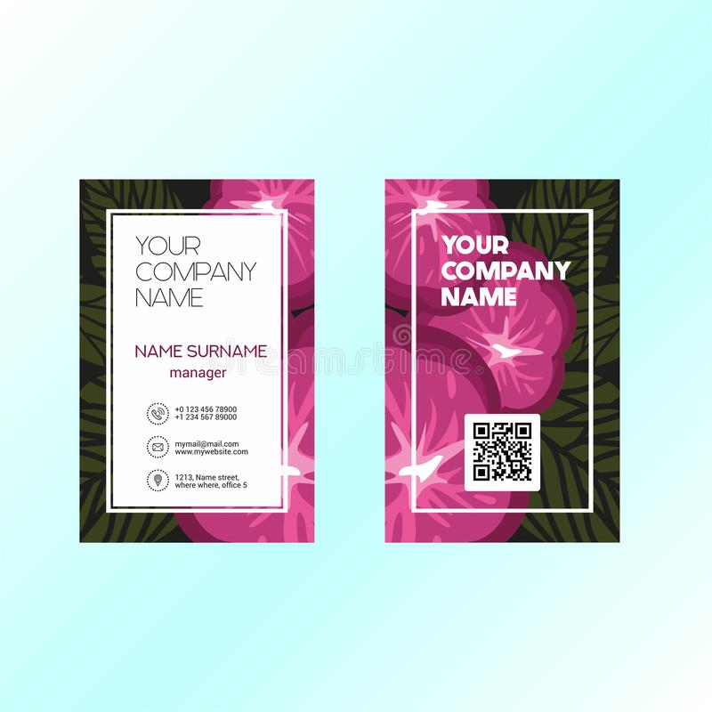 Business card template with floral background red royalty free illustration