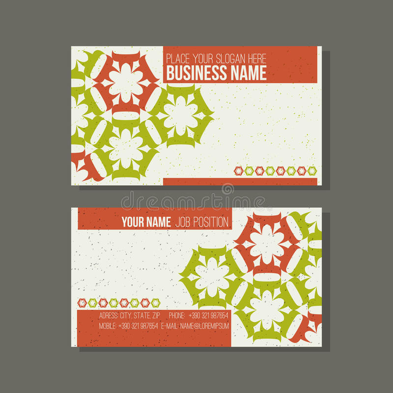 Business card template. Floral, green and orange colors stock illustration