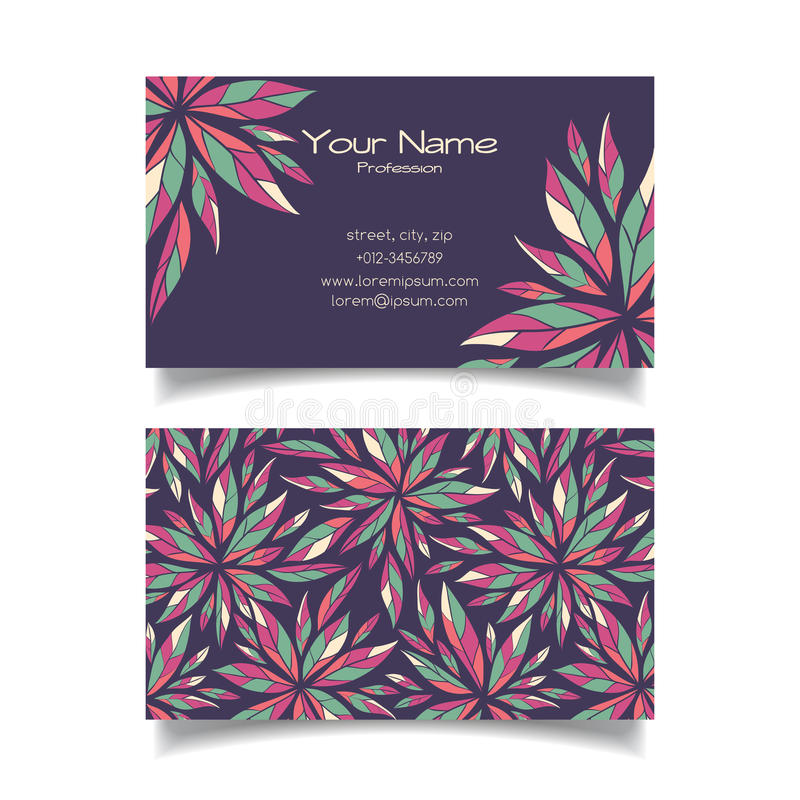 Business card template with floral pattern. Vector business card template with floral pattern stock illustration