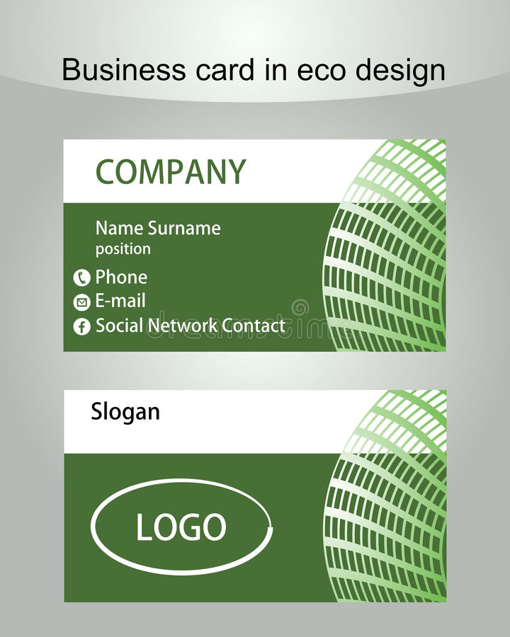 Business Card Template In Green Design Useful For Ecologic Or ...