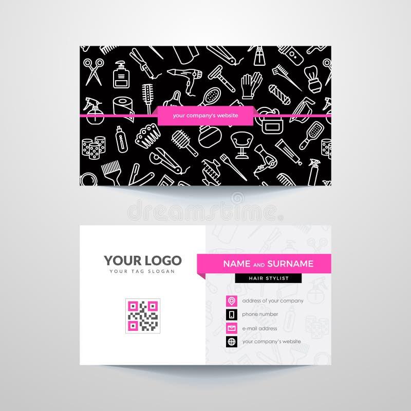 Business card template with hair salon symbols. Hairdresser. Barber stock illustration