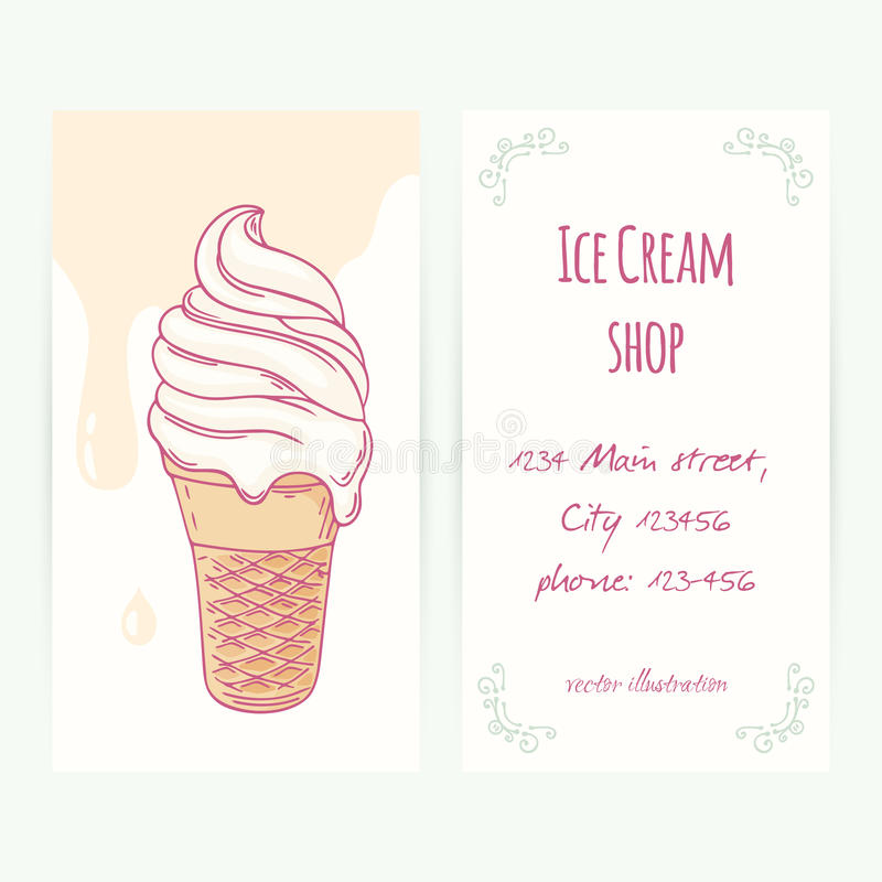 business card template with hand drawn ice cream sundae in waffle cone and drops stock vector. Black Bedroom Furniture Sets. Home Design Ideas