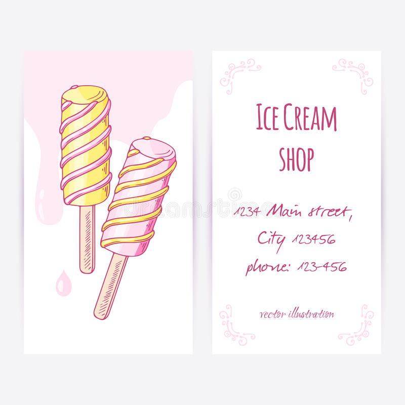Business Card Template With Hand Drawn Twisted Fruity Popsicle And ...