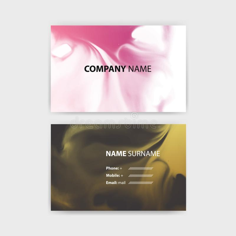 business card template with ink background design
