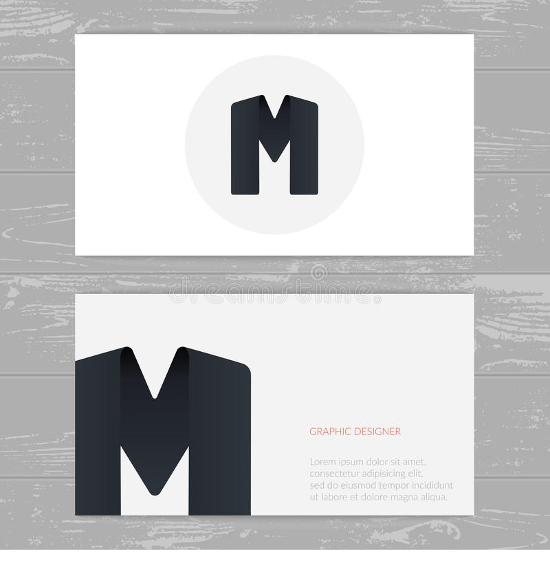 business card template with logo alphabet letter m stock