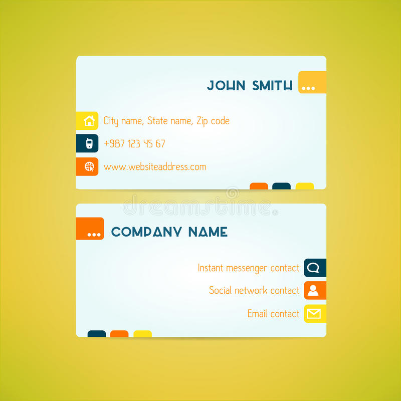 Business card template made in bright clean and vector illustration