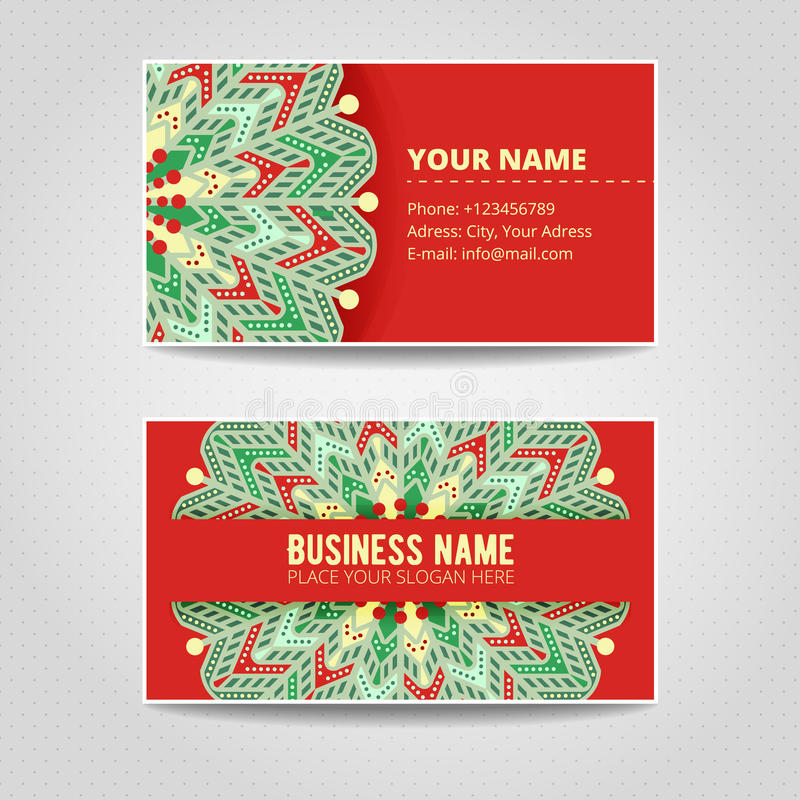 Business card template. Mandala with many details. stock illustration