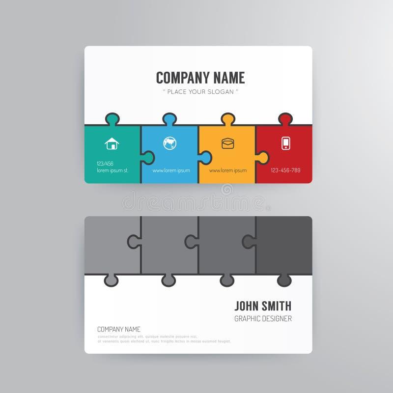 Business card template modern abstract jigsaw concept. vector illustration
