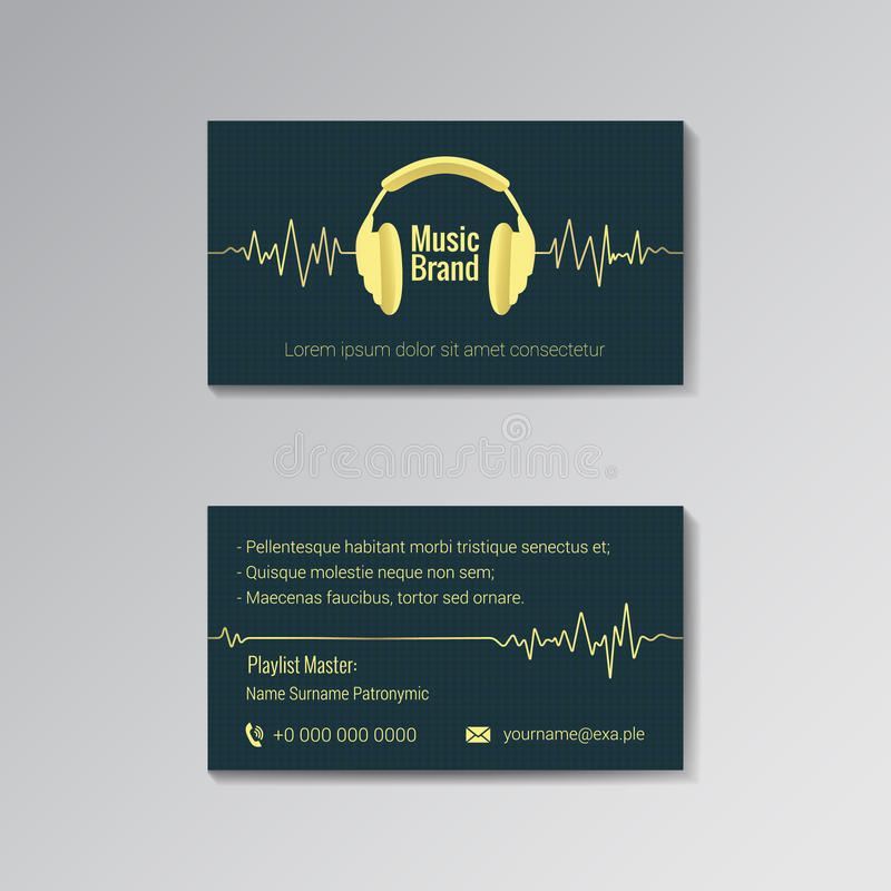 Business Card Template For Music Brand Stock Vector - Illustration ...