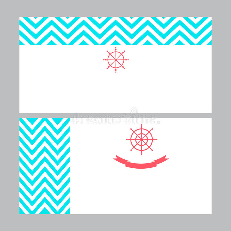 Business Card Template In Nautical Marine Style. Stock ...