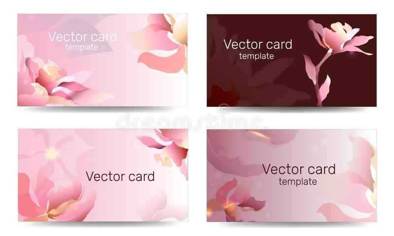 Business card template in pink shades with floral ornament. Text frame. Abstract geometric banner.  royalty free illustration