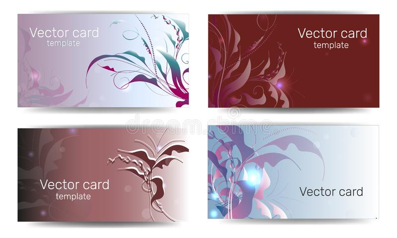 Business card template in pink shades with floral ornament. Text frame. Abstract geometric banner.  stock illustration