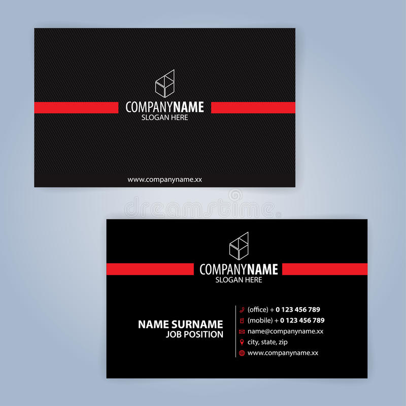 Business card template. Red and Black. Illustration Vector10 vector illustration