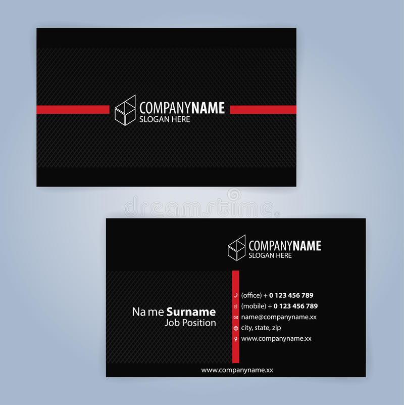 Business Card Template. Red And Black Stock Vector - Illustration of ...