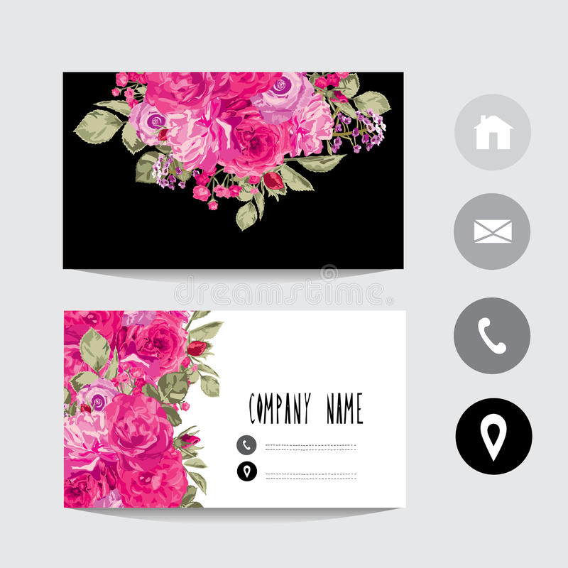 Business card template stock vector. Illustration of flower - 97050226